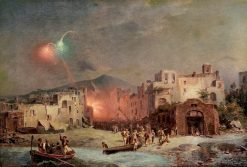 Fireworks on the Beach. Saint Lucy's Day in Amalfi | Franz Richard Unterberger | Oil Painting