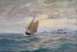Coastal Scene with a Fishing Boat and a Steam Vessel | Martin Aaraard | Oil Painting