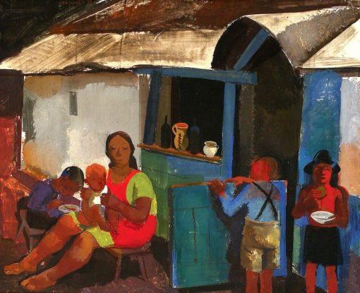 Figures in the Village | Vilmos Aba-Novák | Oil Painting