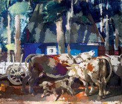 Resting Cows | Vilmos Aba-Novák | Oil Painting