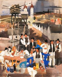 Village Scene | Vilmos Aba-Novák | Oil Painting
