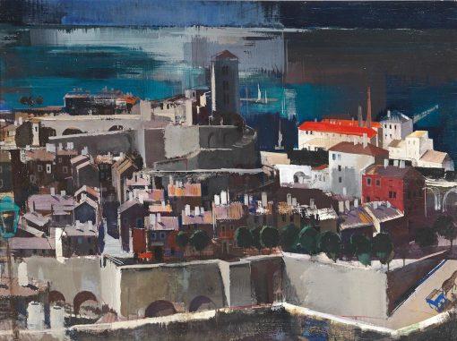 Mediterranean Harbor   Vilmos Aba-Novák   Oil Painting