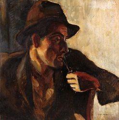 Man with Pipe | Vilmos Aba-Novák | Oil Painting