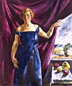 Blue Dress with Fruit Still Life   Vilmos Aba-Novák   Oil Painting