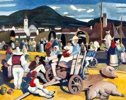At the Market   Vilmos Aba-Novák   Oil Painting