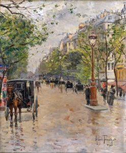 Boulevard with Hansom Cabs in Paris | Louis Abel-Truchet | Oil Painting