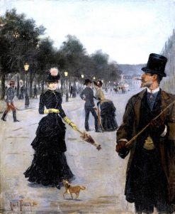 Elegants Wandering in Paris | Louis Abel-Truchet | Oil Painting