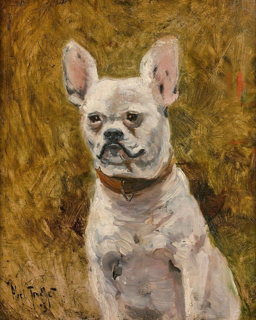 Portrait Of A Dog Painting Louis Abel Truchet Oil Paintings
