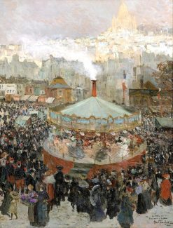 Fairground with the Sacré-Coeur in the Background | Louis Abel-Truchet | Oil Painting