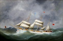 An English Three-Mast Barque at Sea | douard Marie Adam | Oil Painting
