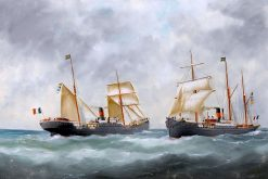 The Ships La Pacifique and Tropique Passing at Sea | douard Marie Adam | Oil Painting
