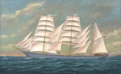 3 Mast Bark - Lodore - Capt. William M. Eldridge | douard Marie Adam | Oil Painting