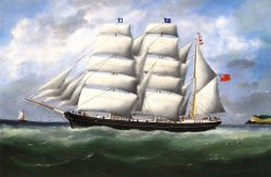The Three-Master Hahnemann in Full Sail off a Headland | douard Marie Adam | Oil Painting