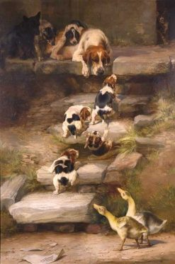 Hound Puppies at Play while Other Animals Look on | William Henry Hamilton Trood | Oil Painting