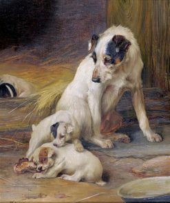 Jack Russell Terrier with Her Pups beside a Kennel | William Henry Hamilton Trood | Oil Painting