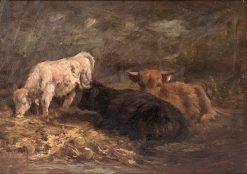 Resting Cattle   Joseph Denovan Adam   Oil Painting