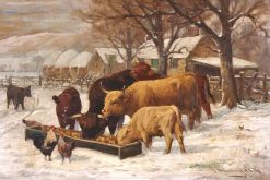 Highland Cattle and Chickens at a Trough in the Snow | Joseph Denovan Adam | Oil Painting