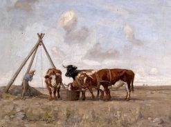Farmer Watering Bulls at a Trough | Joseph Denovan Adam | Oil Painting
