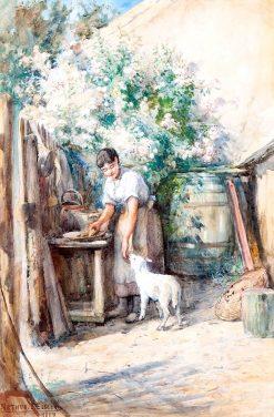 Woman Feeding Lamb | Arthur John Elsley | Oil Painting