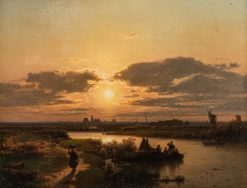 River Landscape at Evening Light with Fishermen Returning Home | Karl Adloff | Oil Painting