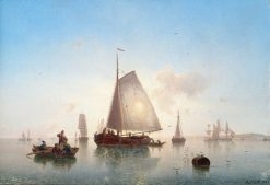 Sailing Ships at a Coastal Landscape at Evening Light | Karl Adloff | Oil Painting