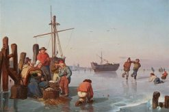 Skaters on a Frozen Pond | Karl Adloff | Oil Painting