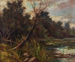 Boatman in a River with Distant Castle | George Vicat Cole | Oil Painting
