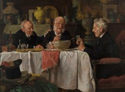 Three Men at a Dining Table | Louis Charles Moeller | Oil Painting