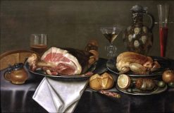 A still life with a ham and chicken on silver plates.... | Alexander Adriaenssen | Oil Painting