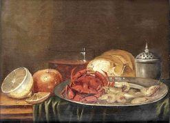 Crabs and shrimps on a silver plate.... | Alexander Adriaenssen | Oil Painting