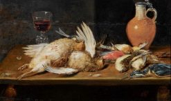 A still life with a robin