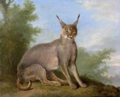 A Caracal in a Landscape | Jacques-Laurent Agasse | Oil Painting