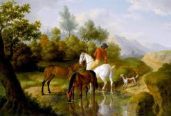 A Gentleman with Horses by a Stream | Jacques-Laurent Agasse | Oil Painting