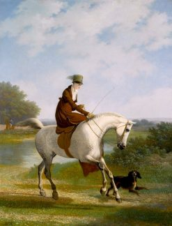 An Equestrienne on a Grey Hunter Accompanied by Her Spaniel in a River Landscape | Jacques-Laurent Agasse | Oil Painting