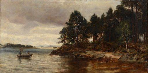 Fisherman Harling on a Loch | David Farquharson | Oil Painting