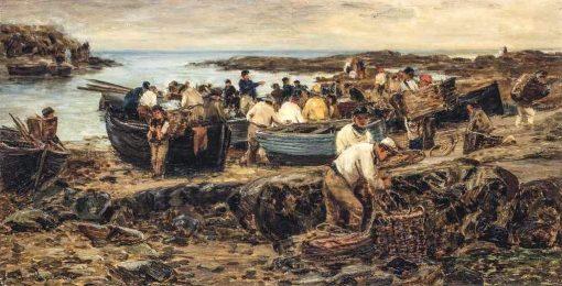 Fishermen on a Beach Unloading Their Catch | David Farquharson | Oil Painting