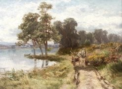 Woodcart by a Loch | David Farquharson | Oil Painting