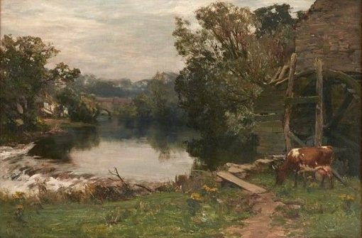 By a Watermill   David Farquharson   Oil Painting