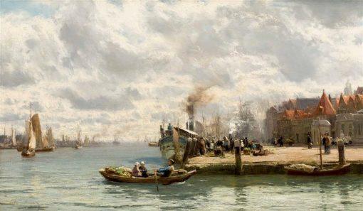 A Busy Harbor Scene | David Farquharson | Oil Painting