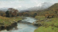A Scottish Glen with Snow Capped Peaks | David Farquharson | Oil Painting