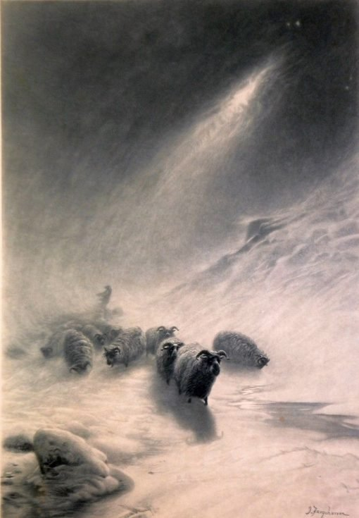 Sheep and Shepherd in Winter Landscape | Joseph Farquharson | Oil Painting