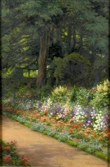 The borders of the artist's garden at Finzean