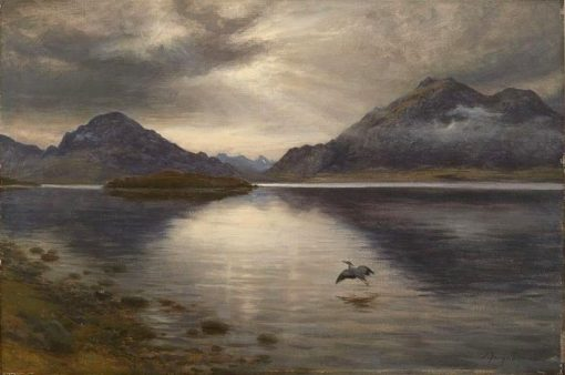 Heron in Flight at Sunset | Joseph Farquharson | Oil Painting
