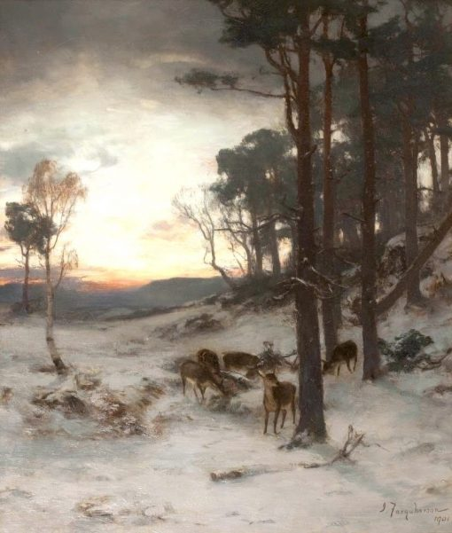 The Glow of a Winter's Day   Joseph Farquharson   Oil Painting