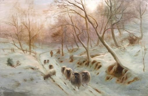 A Country Lane in Winter   Joseph Farquharson   Oil Painting