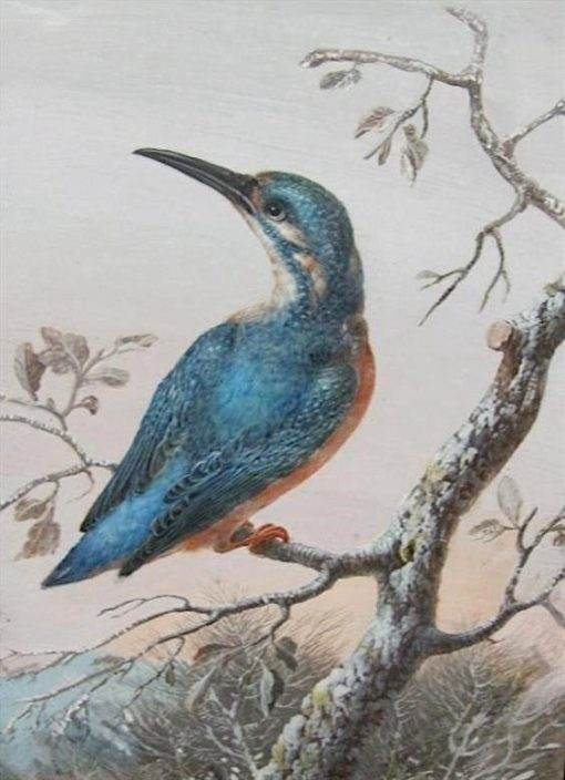 A Kingfisher on a Branch | Christoph Ludwig Agricola | Oil Painting