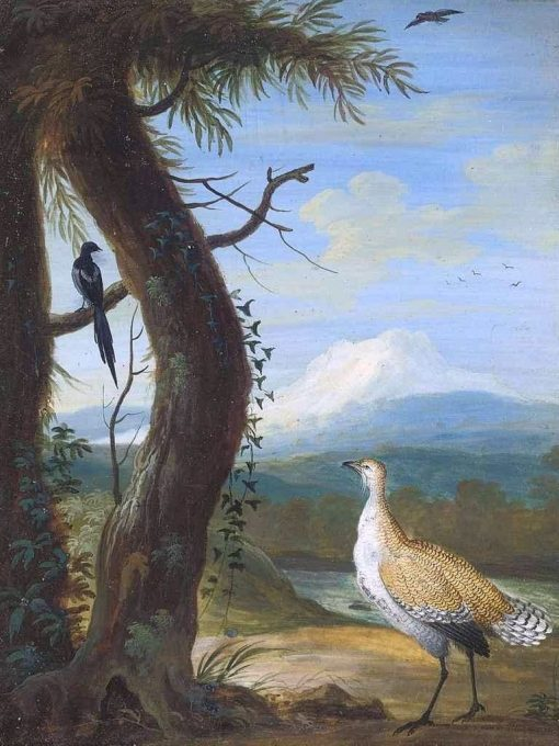 A Bustard and a Magpie in an Exotic Landscape | Christoph Ludwig Agricola | Oil Painting