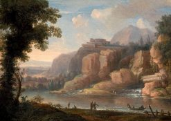 A Mountainous River Landscape with Figures by the Shore | Christoph Ludwig Agricola | Oil Painting