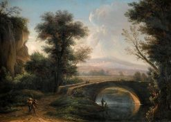 A Southern Landscape with a Bridge Crossing a Small River | Christoph Ludwig Agricola | Oil Painting