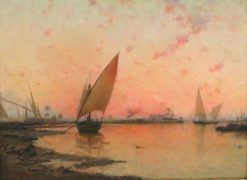 Boats on the Nile River at Sunset | Walter Blackman | Oil Painting